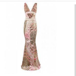 Roberto Cavalli Silk Snake Print Gown
